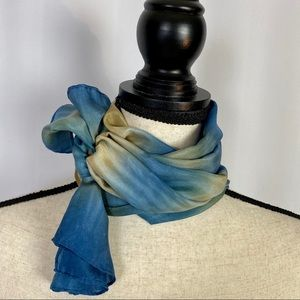 Vintage Silk Tye-Dyed Long Asian Scarf